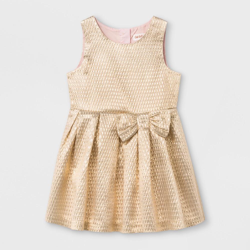 Toddler Girls A Line Dress - Cat & Jack Gold 2T