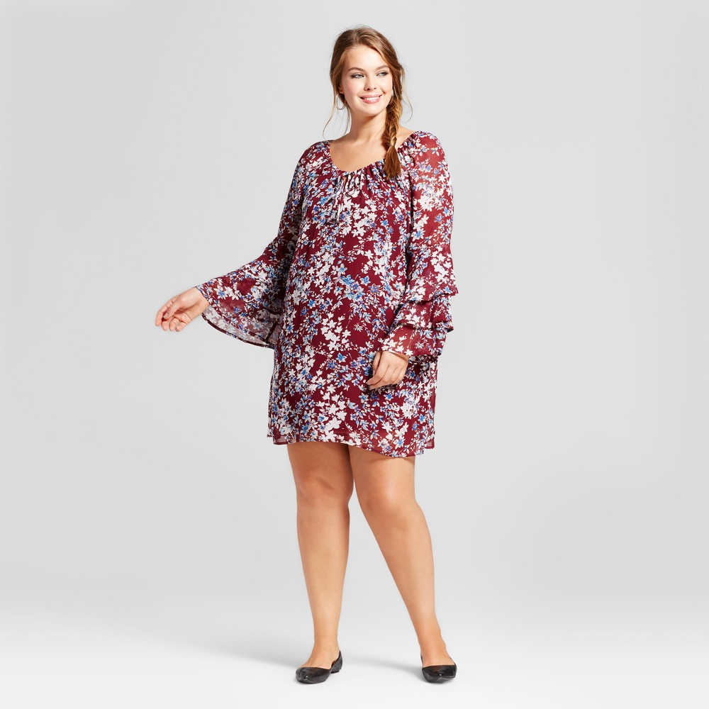 Womens Plus Size Floral Ruffled Bell-Sleeve Dress - Lily Star (Juniors) - Red 2X