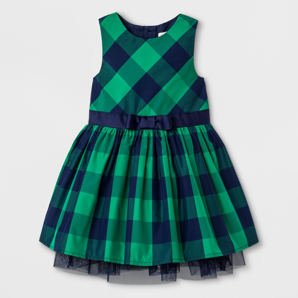 Toddler Girls A Line Dress - Cat & Jack Green and Navy 2T