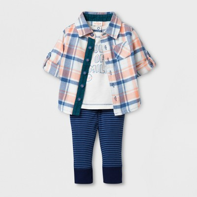 Baby Boys' 3pc Button Down Short Sleeve Collared Flannel Shirt, Short Sleeve T-shirt and Pants Set - Cat & Jack™ Blue/Peach 3-6M
