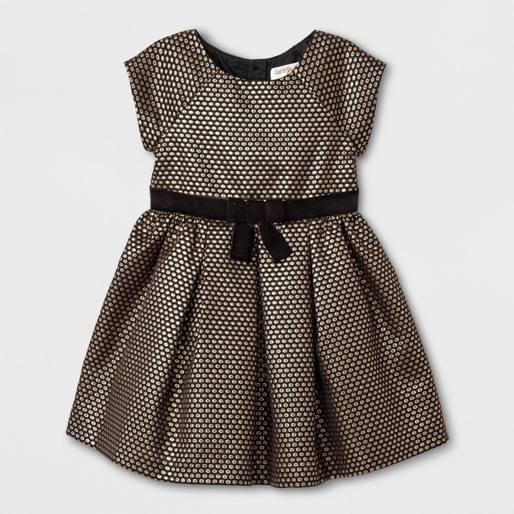 Toddler Girls A Line Dress - Cat & Jack Black With Gold Dots 3T
