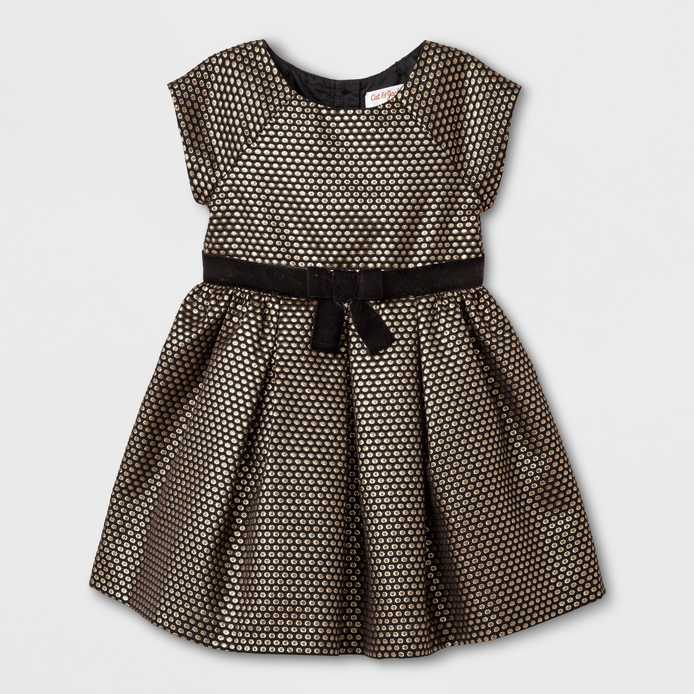 Toddler Girls A Line Dress - Cat & Jack Black With Gold Dots 5T