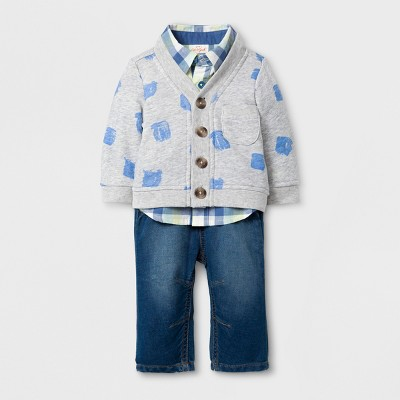 Baby Boys' 3pc Cardigan, Long Sleeve Button Down Collared Shirt and Pants Set - Cat & Jack™ Aqua/Yellow 3-6M