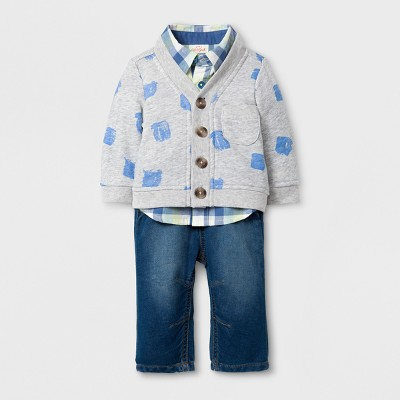 Baby Boys' 3pc Cardigan, Long Sleeve Button Down Collared Shirt and Pants Set - Cat & Jack™ Aqua/Yellow 6-9M