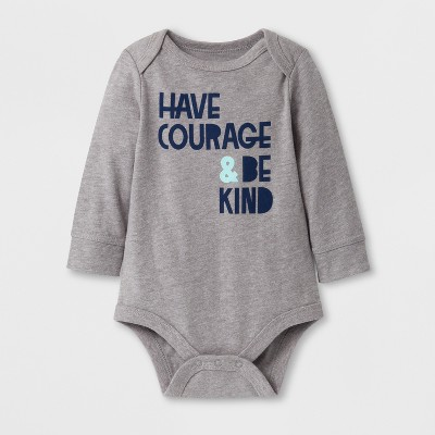 Baby Boys' 'HAVE COURAGE & BE KIND' Long Sleeve Bodysuit - Cat & Jack™ Gray 3-6M