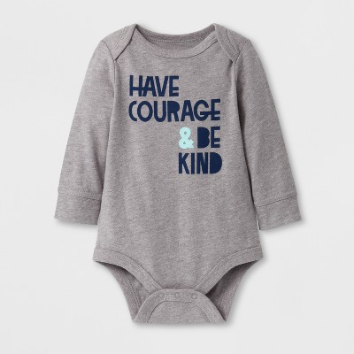Baby Boys' 'HAVE COURAGE & BE KIND' Long Sleeve Bodysuit - Cat & Jack™ Gray 6-9M