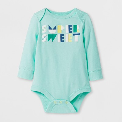 Baby Boys' 'SUPER SWEET' Long Sleeve Bodysuit - Cat & Jack™ Aqua 0-3M
