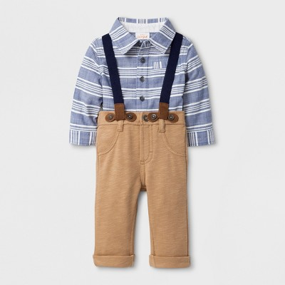 Baby Boys' Woven Long Sleeve Button Down Collared Shirt and Pants with Suspenders Set - Cat & Jack™ Blue/Tan 3-6M