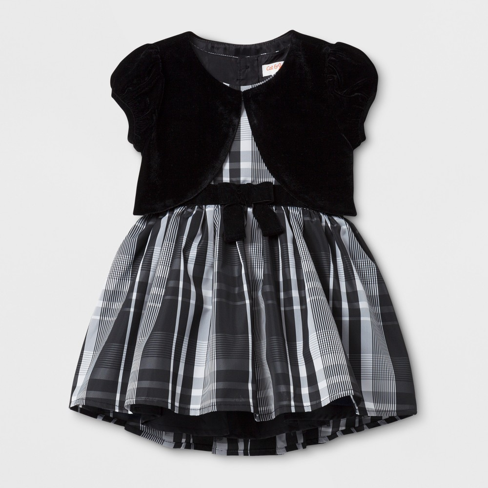 Toddler Girls A Line Dress - Cat & Jack Black and White With Velour Shrug 12M