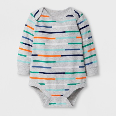 Baby Boys' Striped Long Sleeve Bodysuit - Cat & Jack™ Gray 6-9M