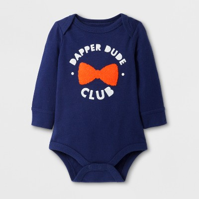 Baby Boys' 'DAPPER DUDE CLUB' Long Sleeve Bodysuit - Cat & Jack™ Navy 3-6M