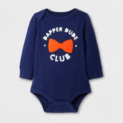 Baby Boys' 'DAPPER DUDE CLUB' Long Sleeve Bodysuit - Cat & Jack™ Navy NB