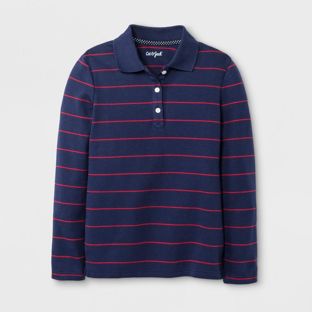 Girls Long Sleeve Polo Shirts - Cat & Jack Nightfall Blue L