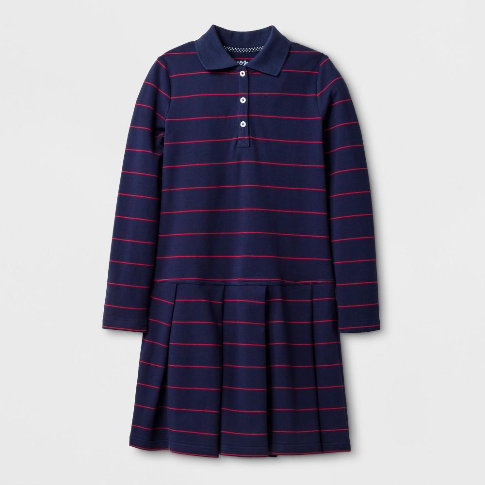 Girls Long Sleeve Polo Shirt Dress - Cat & Jack Nightfall Blue L