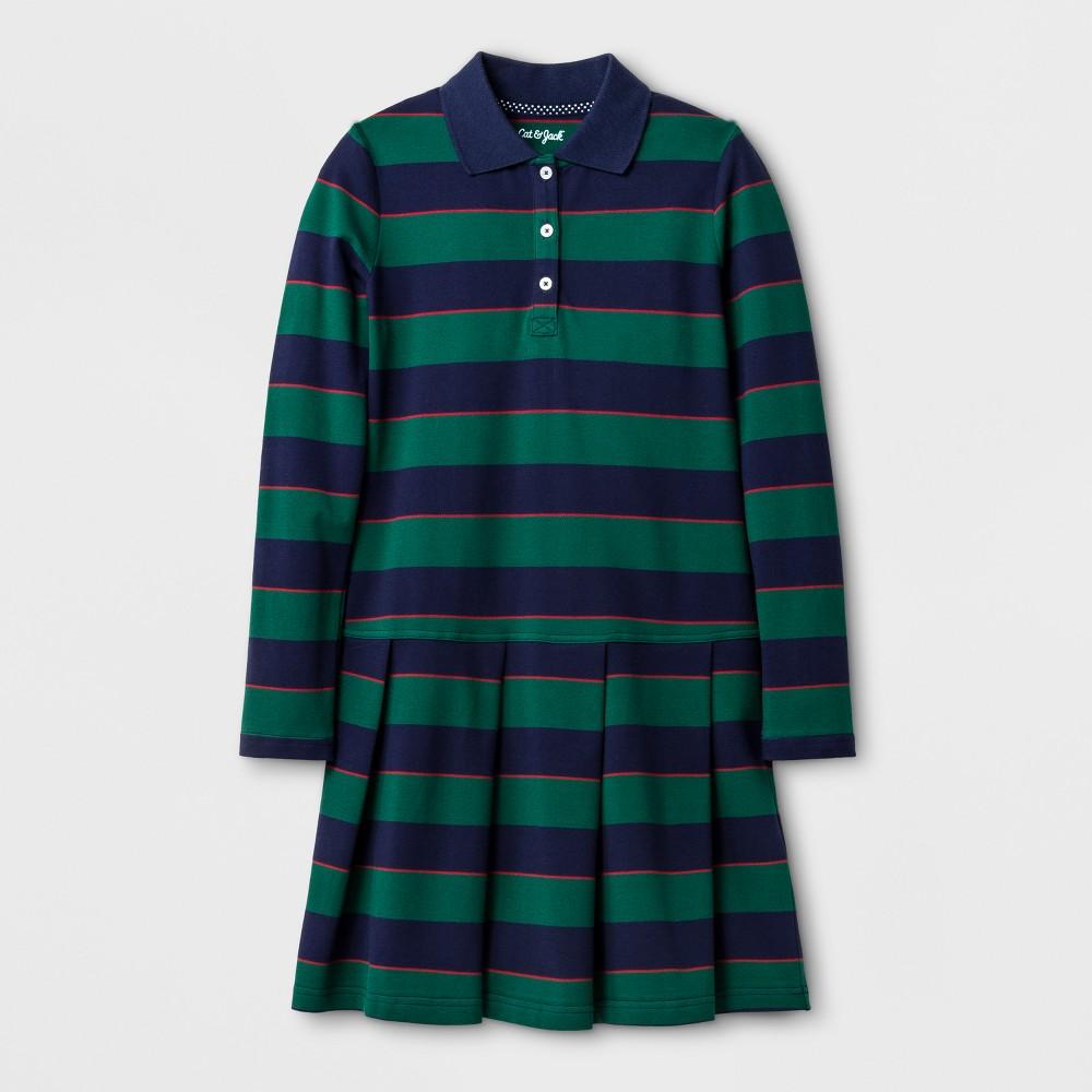 Girls Long Sleeve Polo Shirt Dress - Cat & Jack Green Reflection XL