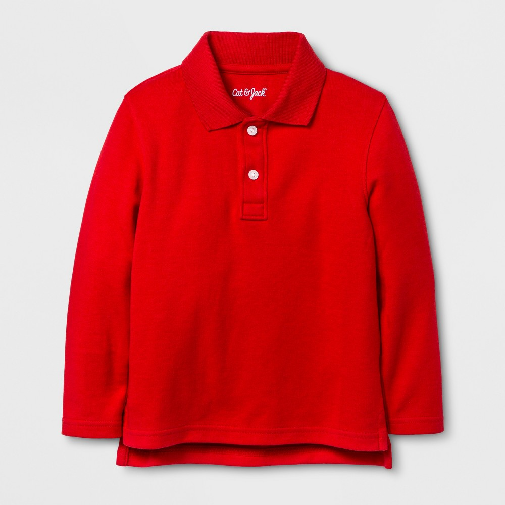 Toddler Boys Long Sleeve Polo Shirt - Cat & Jack Wowzer Red 3T