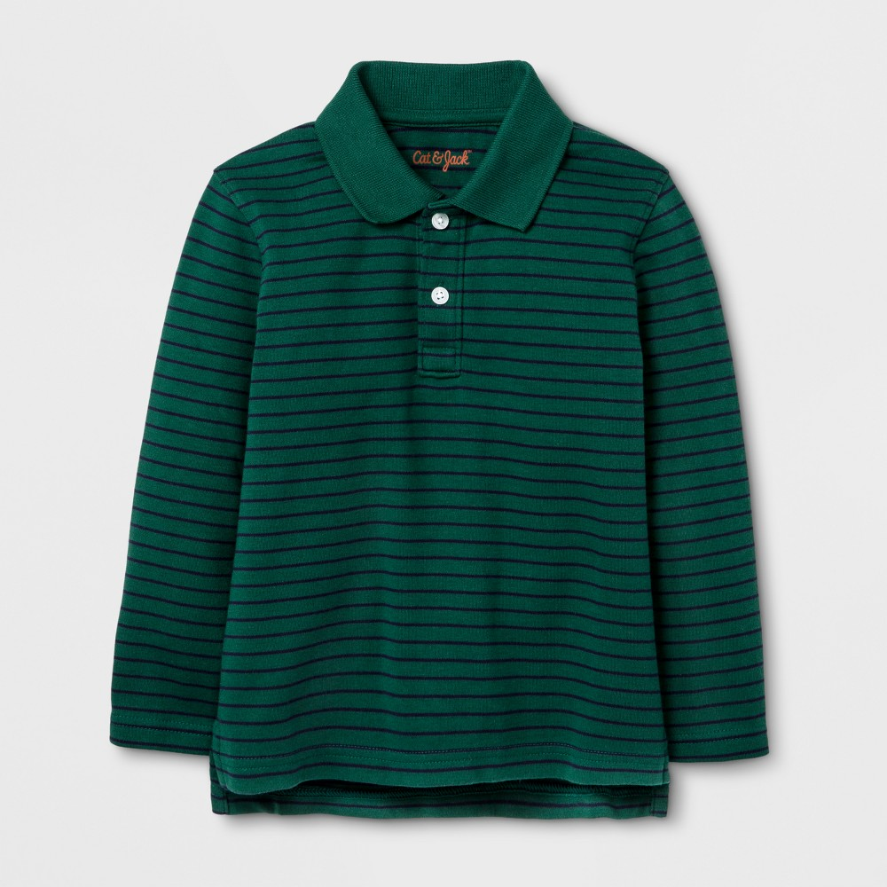 Toddler Boys Long Sleeve Polo Shirt - Cat & Jack Morning Storm 18 M, Green