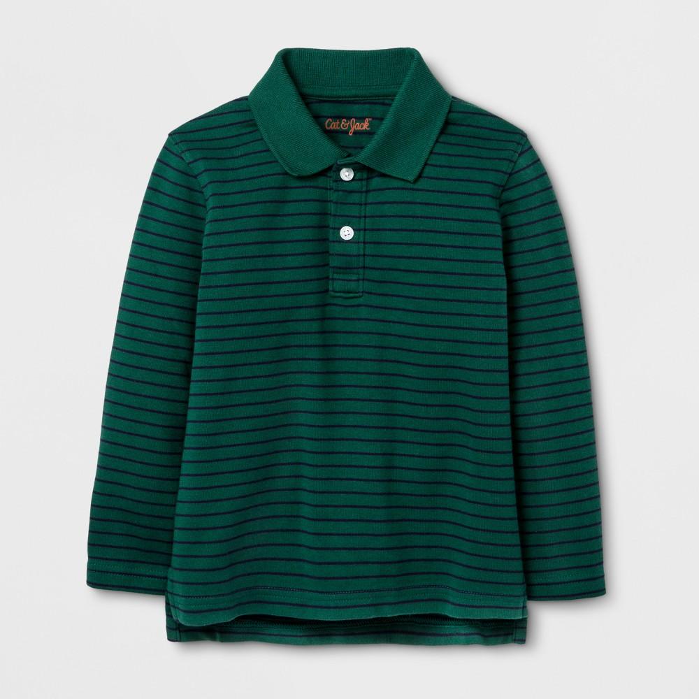 Toddler Boys Long Sleeve Polo Shirt - Cat & Jack Morning Storm 2T, Green