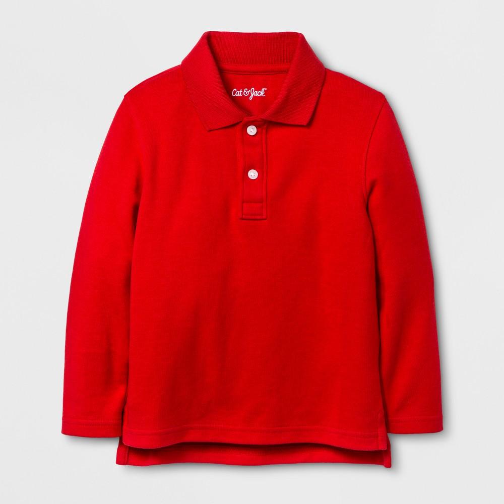 Toddler Boys Long Sleeve Polo Shirt - Cat & Jack Wowzer Red 12 M