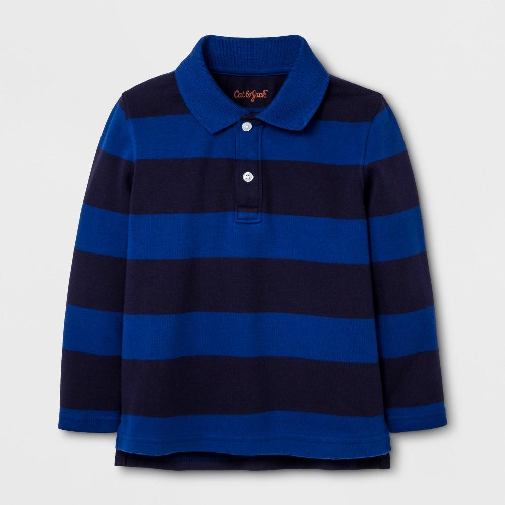 Toddler Boys Long Sleeve Polo Shirt - Cat & Jack Blue Dream 3T