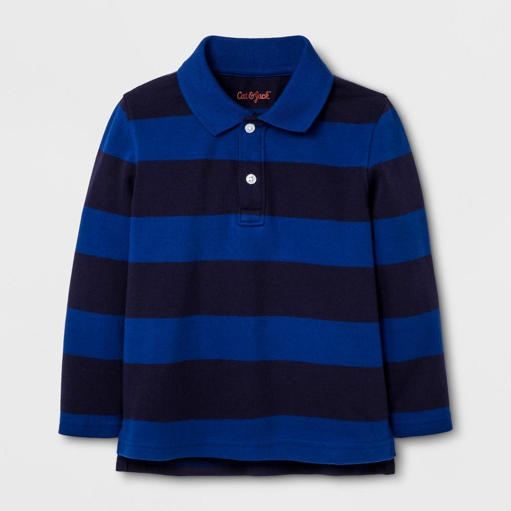 Toddler Boys Long Sleeve Polo Shirt - Cat & Jack Blue Dream 4T