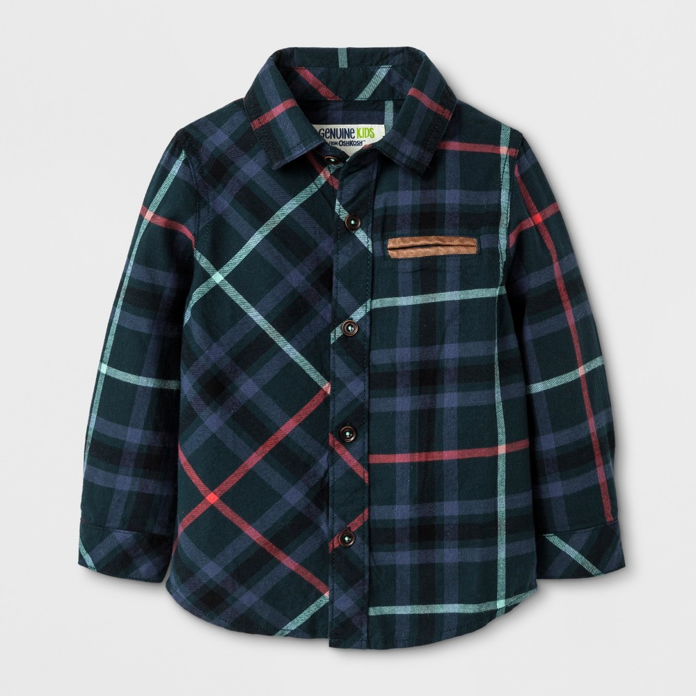 Toddler Boys Flannel Button Down Shirt - Genuine Kids from OshKosh Teal Plaid 2T, Green