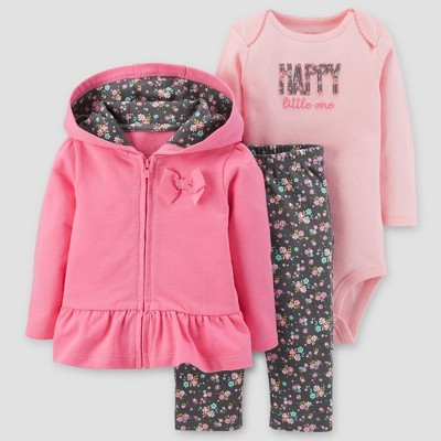 Baby Girls' Cotton 3pc Hooded Peplum Bow Set - Just One You™ Made by Carter's® Pink 24M