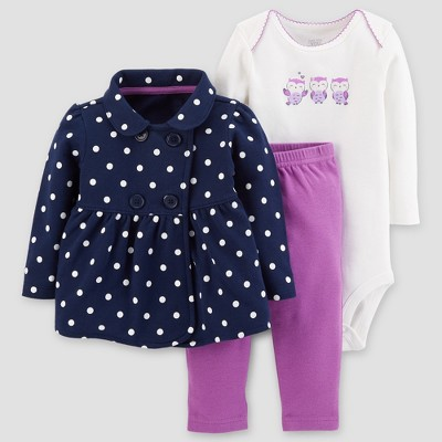 Baby Girls' Cotton 3pc Dot Owl Set - Just One You™ Made by Carter's® Navy/Purple 24M