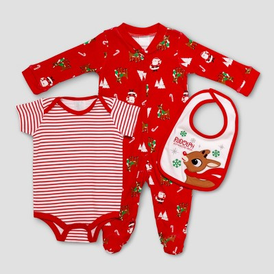 Baby Girls' Rudolph the Red-Nosed Reindeer Baby Snap N Play & Bodysuit Bib Set - Red 6M