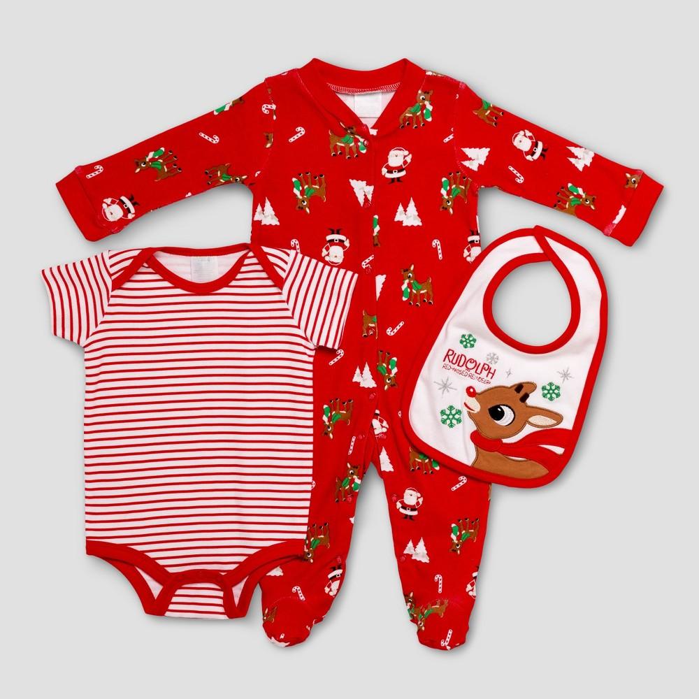 Baby Girls Rudolph Baby Snap N Play & Bodysuit Bib Set - Red 6M, Size: 6 M