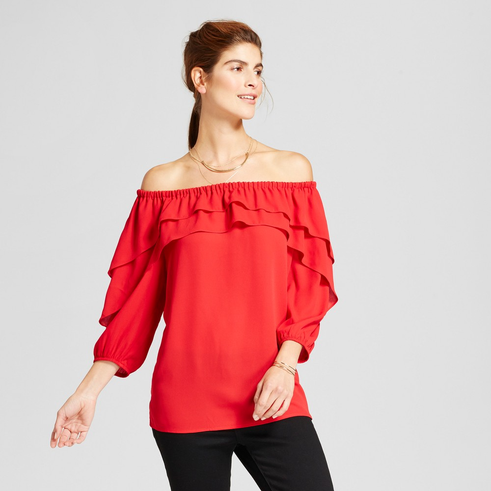 Womens Ruffled Off the Shoulder Solid Woven Blouse - Notations Red L