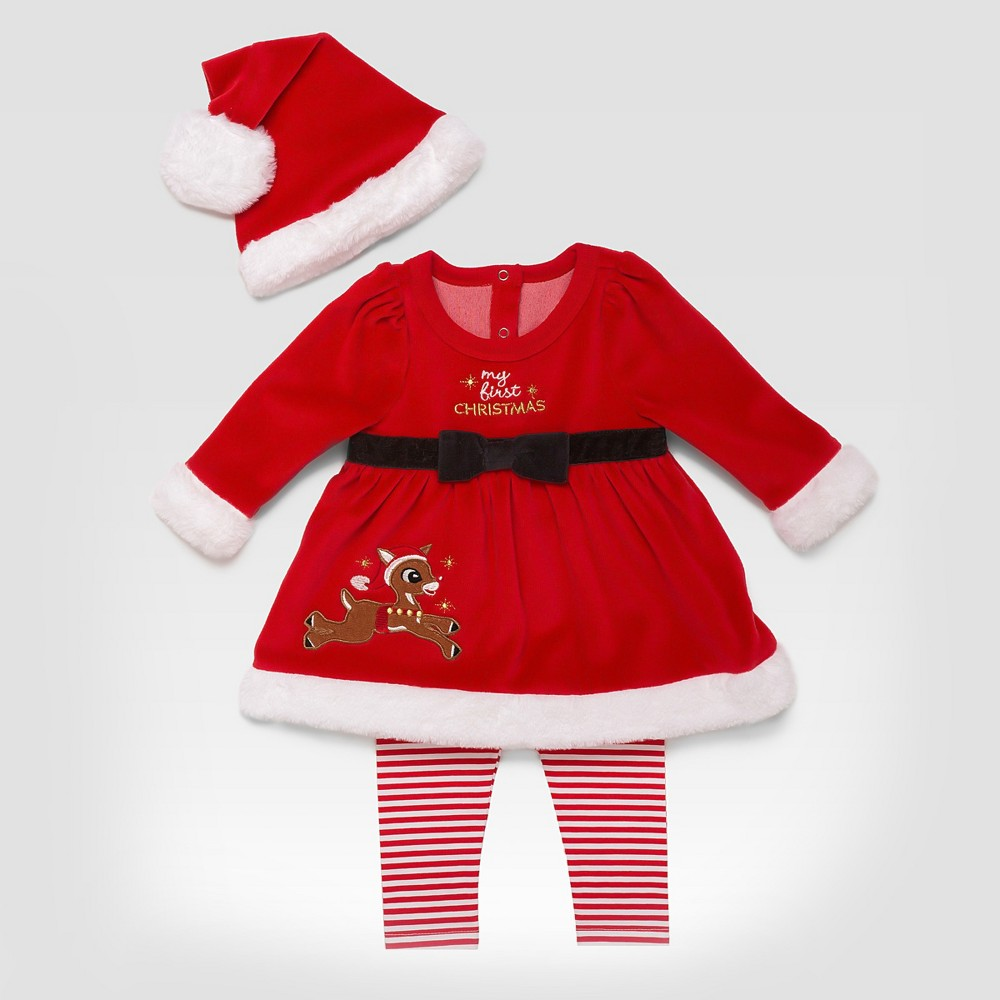 Baby Girls Rudolph My First Christmas Set - Red 3M, Size: 3 M