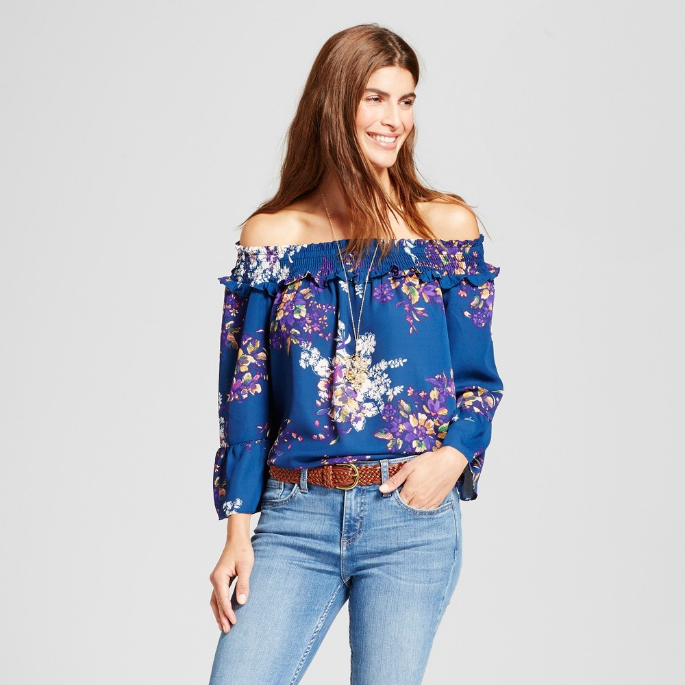 Womens Navy Smocked Floral Off the Shoulder Woven Blouse - Notations Navy Combo S, Blue