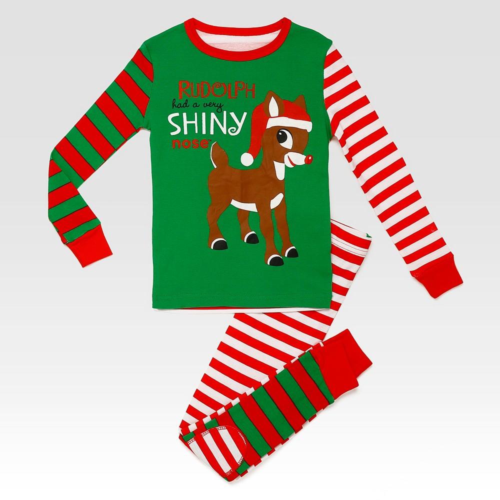 Rashti & Rashti Rudolph the Red-Nosed Reindeer Toddler Boys 2pc Shiny Nose Pajama Set - Green 3T