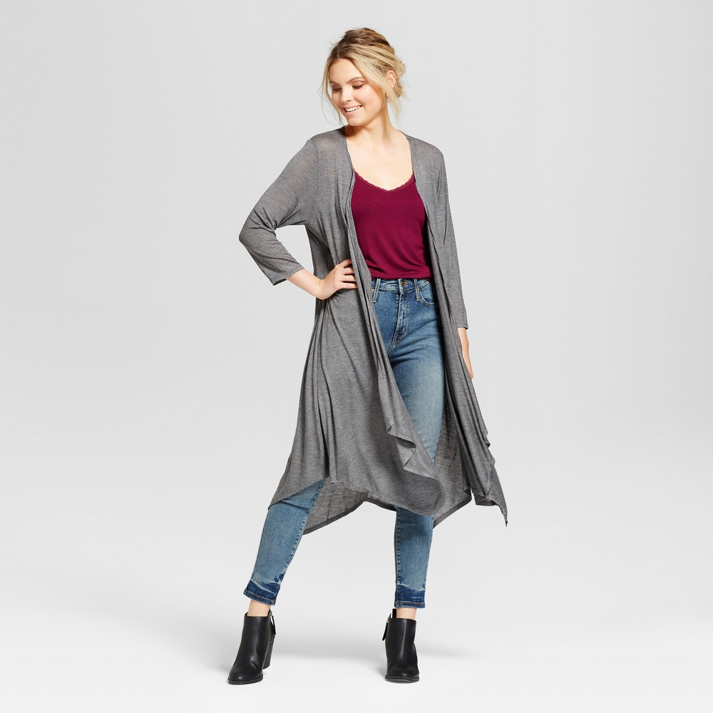 Womens Heathered Knit Seamed Cozy Cardigan - Notations Black Heather XS, Gray