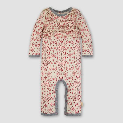 Baby Girls' Organic Watercolor Damask Ruffle Coverall - Burt's Bees Baby Cranberry 3-6M