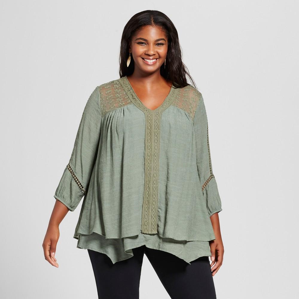 Womens Plus Size Lace Inset Blouse - JohnPaulRichard Green 2X
