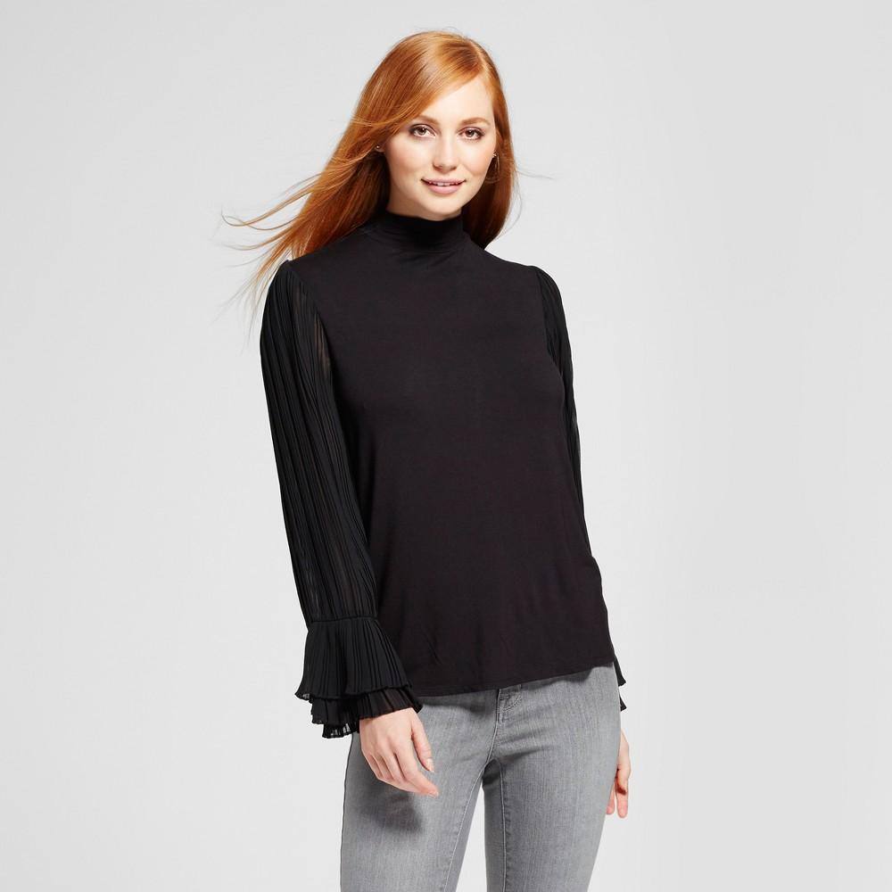 Women's Mock Neck Bell Sleeve Blouse - Mossimo Black XL