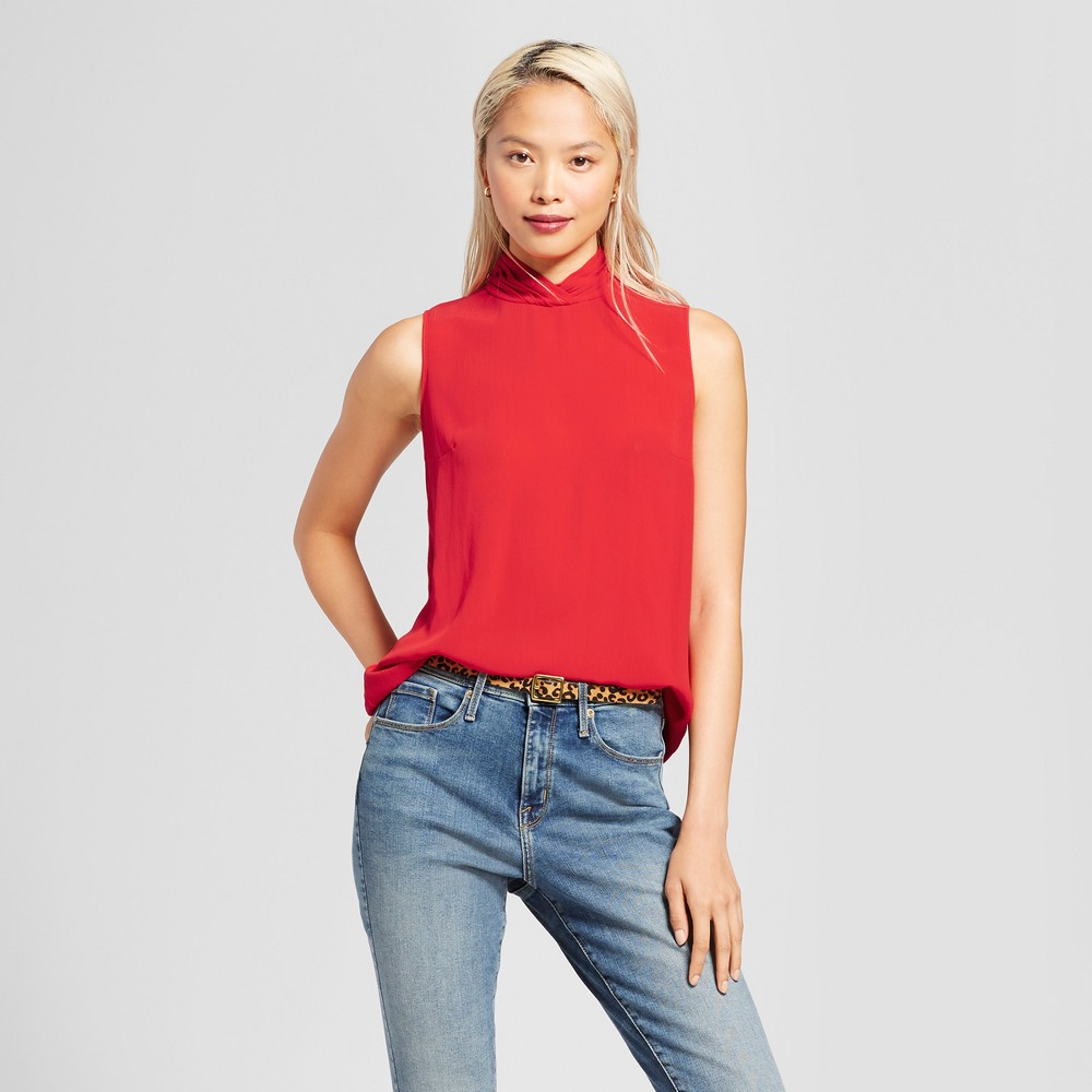 Womens Mock Neck Tank Top - Mossimo Red XS