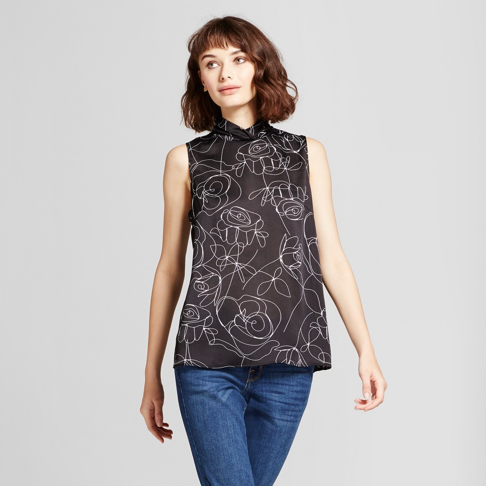 Womens Printed Mock Neck Tank Top - Mossimo Black/White XL