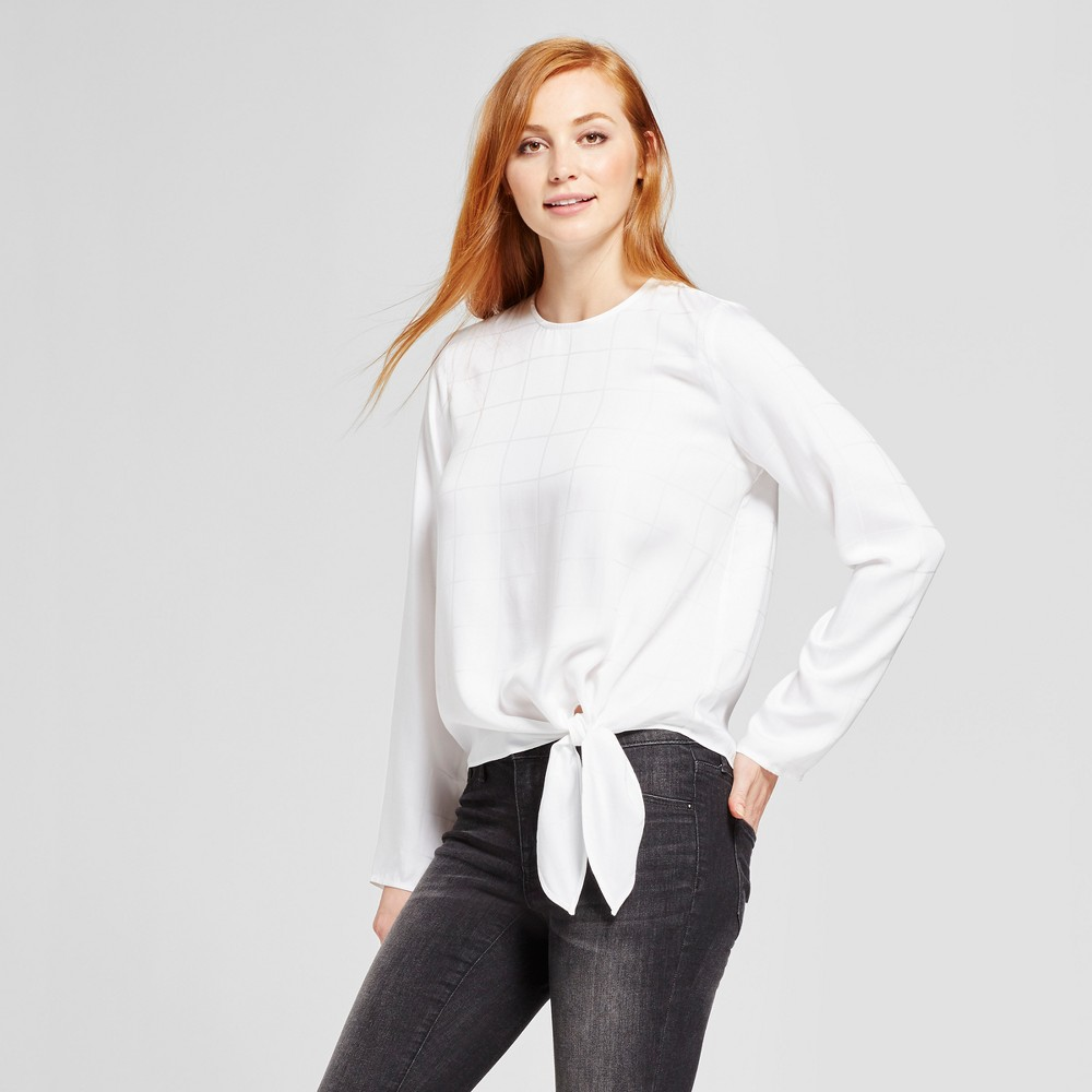 Womens Tie Front Blouse - Mossimo White XS