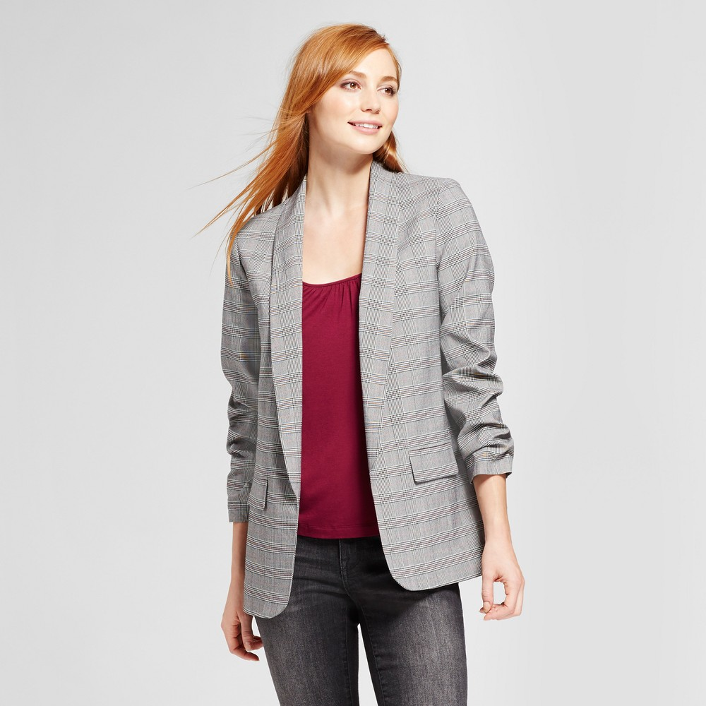Womens Plaid Menswear Blazer - Mossimo Gray L, Black