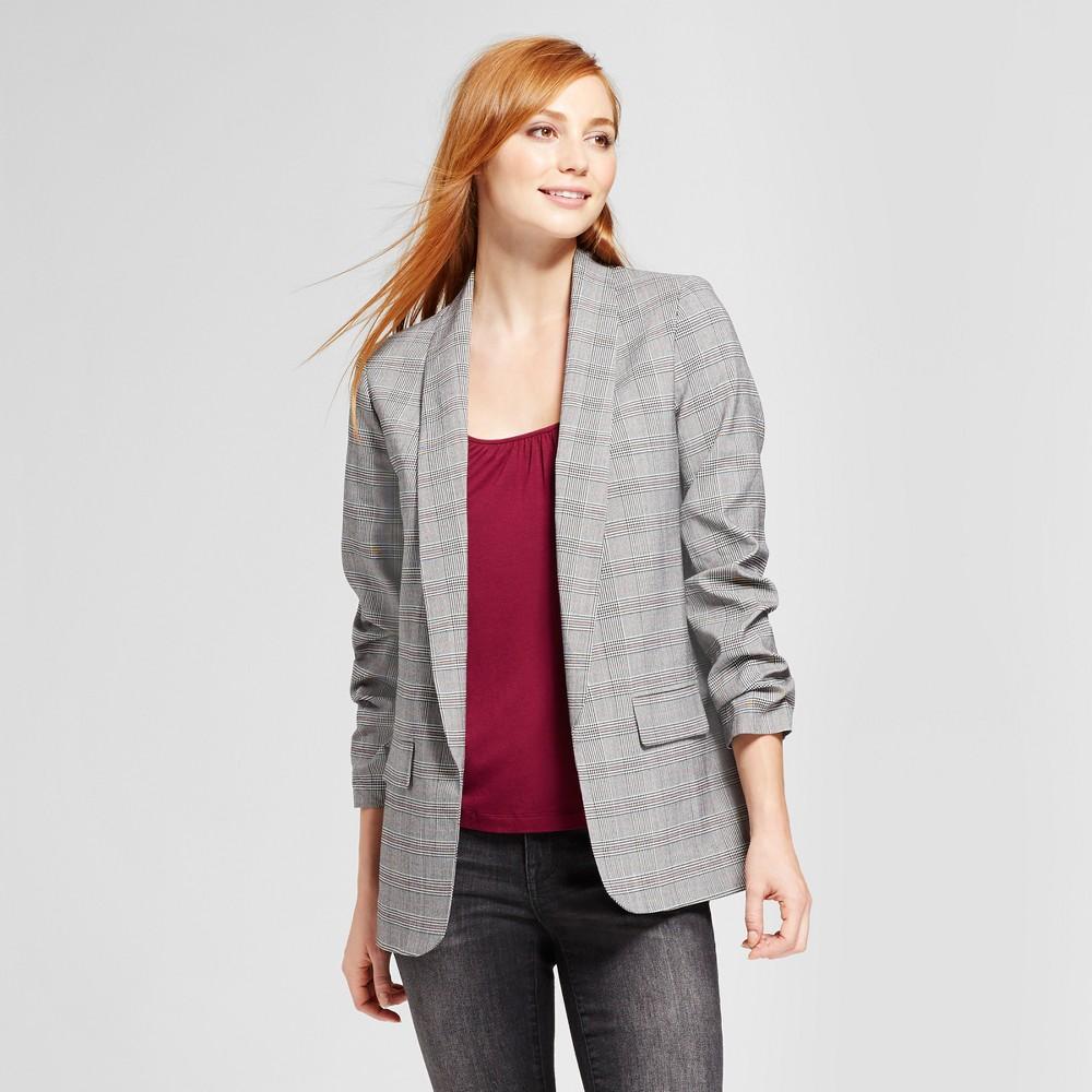 Womens Plaid Menswear Blazer - Mossimo Gray XS, Black
