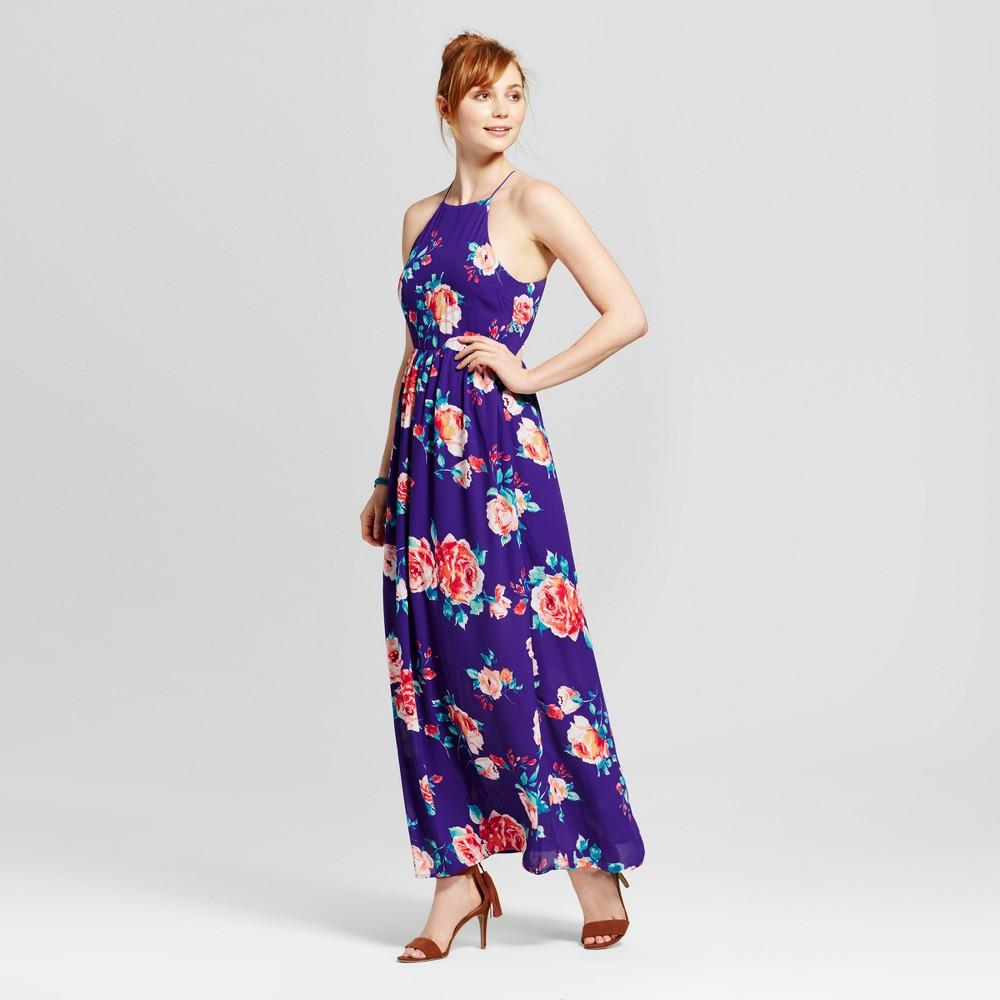 Womens Floral Apron Maxi Dress - Le Kate (Juniors) Blue M