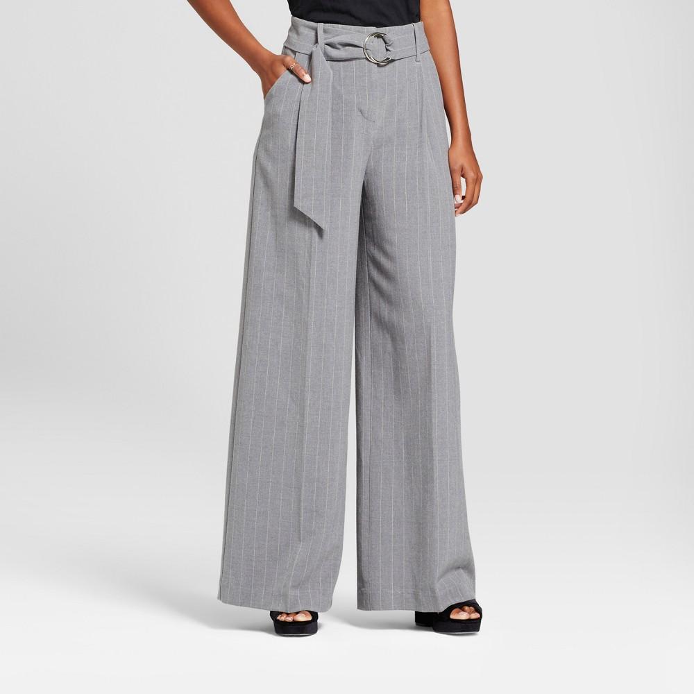 Womens Wide Leg Pinstripe Trouser - Mossimo Gray 12