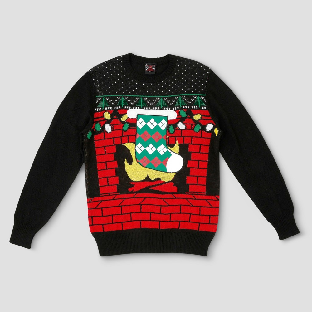 Mens Big & Tall Ugly Holiday Stocking Coozie Sweater - Black Xlt