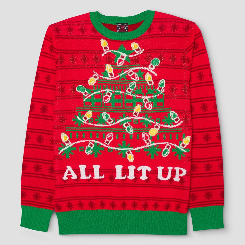 Mens Big & Tall Ugly Holiday Light-Up Lets Get Lit Sweater - Red LT