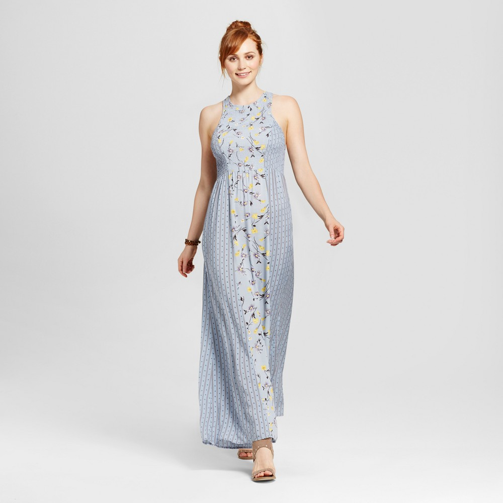 Womens Mixed Print Floral Maxi Dress - Le Kate (Juniors) Blue XL
