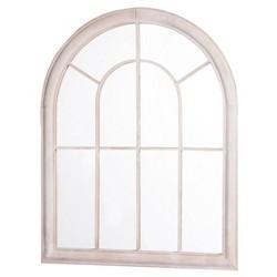 """27.17"""" x 1.57"""" x 34.65"""" Iron & Glass Round Winowpane Garden Mirror Cream - Sunjoy"""
