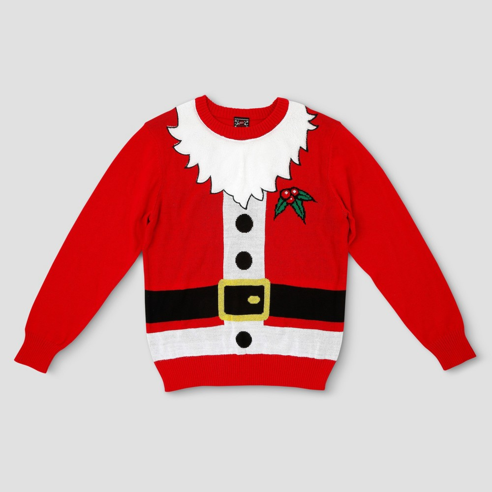 Mens Big & Tall Ugly Holiday Santa with Beard Sweater - Red Xxlt, Size: Xxl Tall